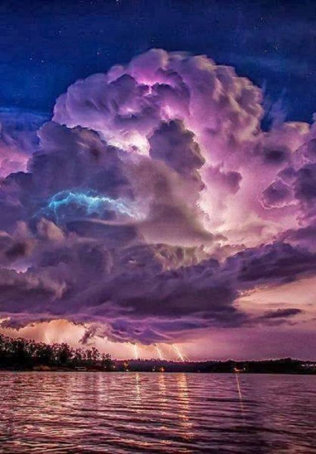 Lightening, Purple Sky